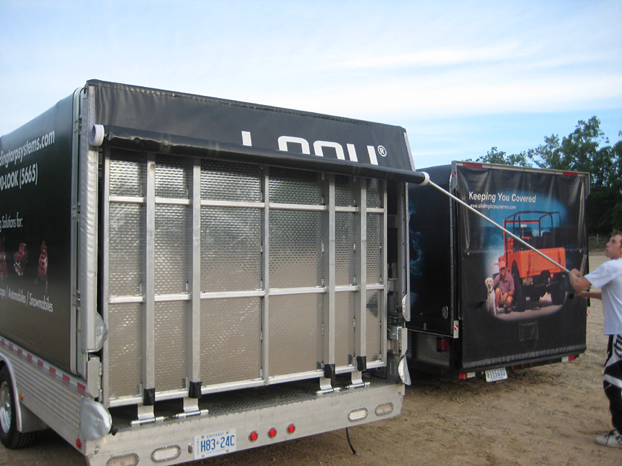 Retractable Soft Cover Canopy For Flatdeck Utility Trailers