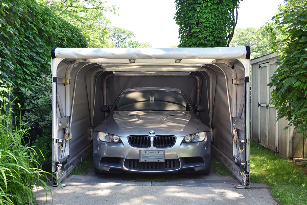 Small Car Shelters : Retractable portable garage canopy shelter